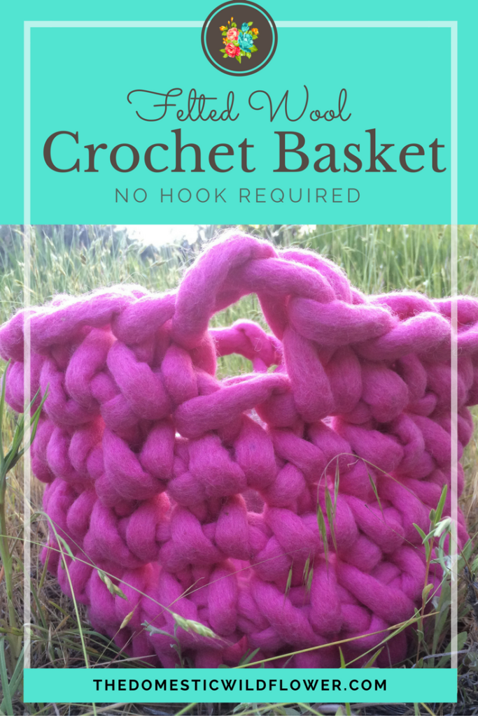 Felted Wool Crochet Basket | The Domestic Wildflower click to see how you can finger crochet this gorgeous wool basket in under 2 hours, with NO HOOK, even if you've never crocheted before. Read the post now!