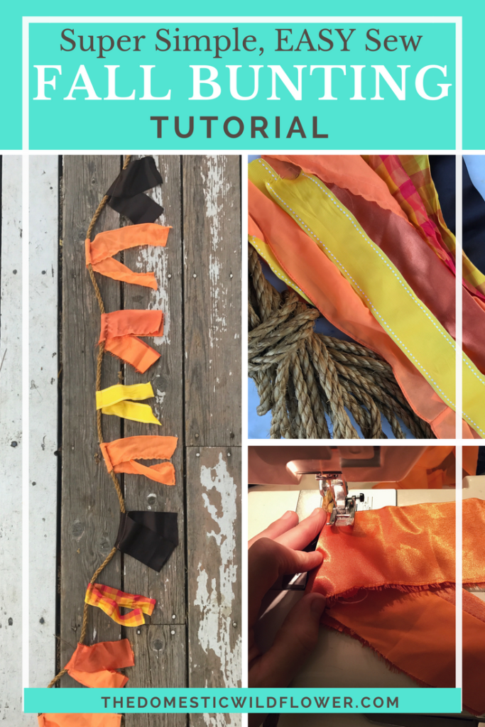 Fall Bunting Garland | Easy Sew Fall Decor Bunting Tutorial |This tutorial is super easy and she links to such cute rope and ribbon to make it! Definitely making this!