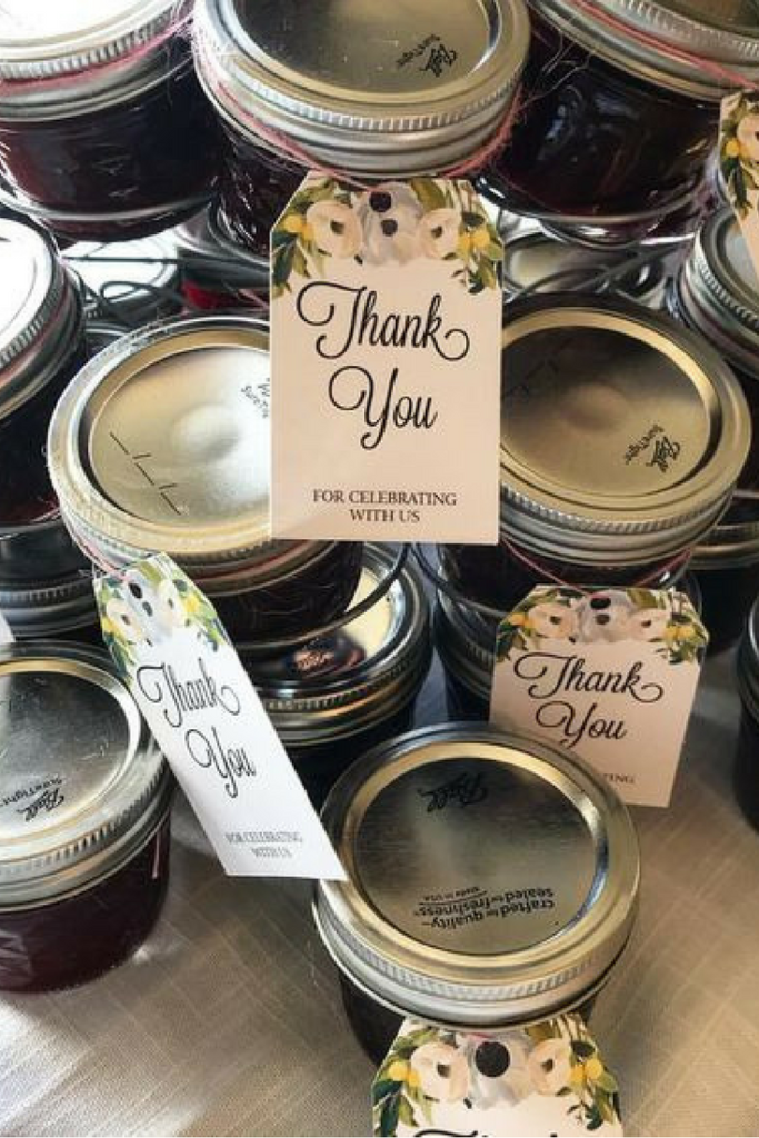 Canning For Party Favors | Read how you can preserve jam, salsa, and other delicious treats easily for the guests at your next bridal shower, baby shower, or other party! Canning for party favors is genius- it saves time and money and is beautiful!